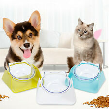 Pet Adjustable 15° Protection Bowl Dog Cat Oblique Dish Food Water Rice Feeder