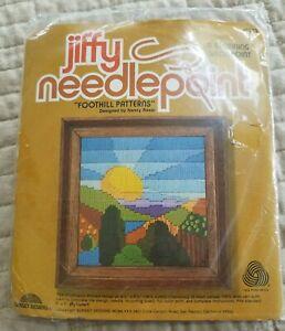 "Jiffy Needlepoint, ""Foothill Patterns"" Complete Kit #5853 Longstitch, 5 x 7"" NOS"
