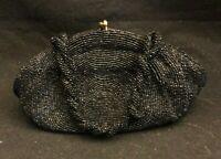 Vintage 1950's Walborg Black Hand-Beaded Evening Bag