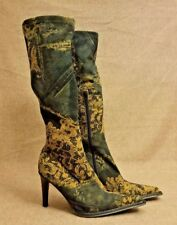 San Marina Women Floral Brown Tall Knee Heels Fabric Textile Boots Size 38.5