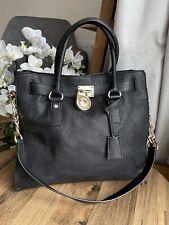 Michael Kors MK Hamilton large Black Gold chain leather shoulder bag handbag