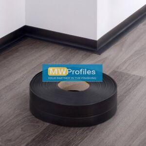 BLACK PVC FLEXIBLE SKIRTING BOARD - SELF-ADHESIVE - 5 and 15 METER LENGTH