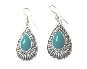 Ladies Green Onyx Gemstone 925 Silver Plated Vintage Style Dangle Earrings