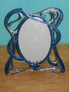 Art Deco Picture Frame Blue 16 x 18 cm OVAL