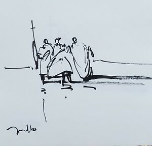 JOSE TRUJILLO - Expressionism Pen Ink Paper 6x6 Expressionist FIGURES SIGNED ART