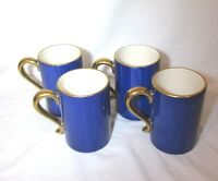 4 Meridian Blueberry L'OBJET Mugs Cups Blue Hand Painted Scalloped Gold Trim