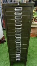 More details for good vintage army green  21 drawer metal cabinet on legs. takes a4 paper.