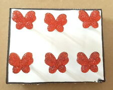 Red Jewel Butterfly - Set of 6 Handmade Decorative Push Pins Thumb Tacks