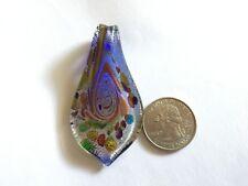 1 Colorful Spiral Pattern 34X62mm Handmade Lampwork Glass Pendant