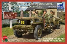 New ListingBronco Cb35106 1/35 U.S. Gpw 1/4 ton Jeep with Trailer + 3 Figures-Usa Shipping
