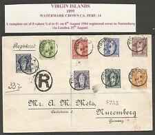 VIRGIN IS.THE 1899 SET OF 8 ON REG COVER TO NUREMBERG VIA LONDON C.£140 x 8