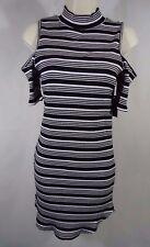 No Boundaries Women's Cold Shoulder Rib Dress- Medium (7-9)Juniors -Black Stripe