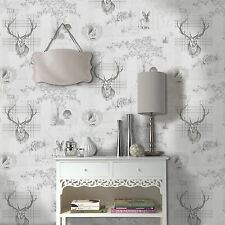 Holden Wallpaper - Rustic Tartan Stag - Animal Prints - Grey & Charcoal -  98013