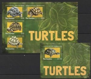 Gambia 2013 MNH MS+SS, Turtles, Reptiles, African Helmeted Turtle