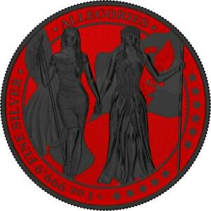 Germania 2019 5 Mark Columbia&Germania - Space Red & Ruthenium 1 Oz Silbermünze