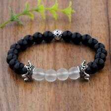 New Crown Black Natural Gemstone Handmade 8MM Agate Beads Stretchable Bracelets