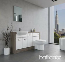WHITE/DRIFTWOOD FITTED BATHROOM FURNITURE P1 1500MM BASE UNITS