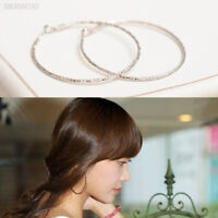 D775 Hot New Silver Women Lady Bamboo Pattern Carved Big Circle Ear Stud Earring