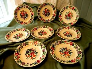 """SARREGUEMINES RUSTICANA - SET OF 8 PLATES - HAND PAINTED MADE IN FRANCE - 8"""" W"""