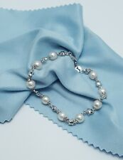 Gorgeous 18K Karat 750 Stamp White Gold Designer Bracelet With Pearls - Nice!