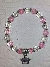 Pink/ Clear Crackle Bead Bracelets party bag  Princess Charm