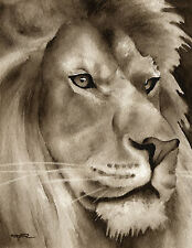 Lion Art Print Sepia Watercolor Wildlife Animal Painting by Artist DJR