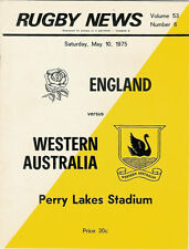 ENGLAND 1975 RUGBY TOUR PROGRAMME v WESTERN AUSTRALIA 10th May at Perry Lakes