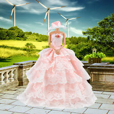 Princess Evening Party Dress Clothes Gown Wears Outfit w/ Hat for Barbie Doll