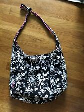 Thirty One Black And White Floral Crossbody Shoulder Purse Hobo Tote Bag