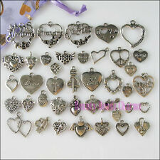 40Pcs Antiqued Silver Tone DIY/Heart Mixed Charms Pendants