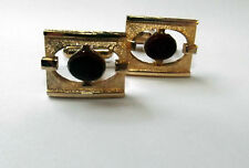 Small Ruby Colored Stone set in Gold Tone Framing Cufflinks (2C.1)