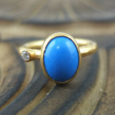Brushed Roundband Handmade Oval Turquoise Ring 24K Gold Over Sterling Silver