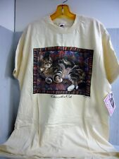 1994 NEW lesley anne ivory relax with a cat printed T-shirt Rare/NOS XL Men Wome