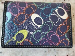 COACH Slim Card, ID Case Wallet Signature C: colorful letters, Navy Blue Leather