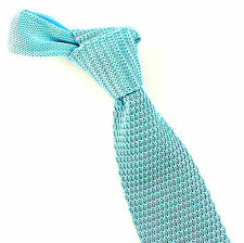 "Jacob Alexander Solid Knit Mens Necktie Lt. Turquoise 3"" Fashion Knitted Tie New"