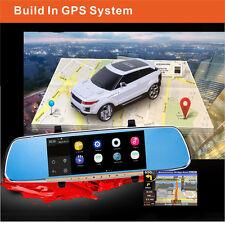 "7"" Android Rear View Mirror GPS Navigation WIFI FULL HD Dual 1080P CAR DVR + FM"