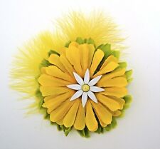 "Yellow Daisy 3"" Mini-Fascinator Flower Hair Clip w/ Feathers OOAK Handmade"