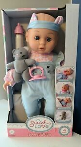 """""""My Sweet Love"""" Baby Doll With Blue Jumper, Bottle, Pacifier, and Kitten New"""
