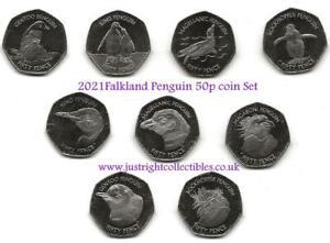 2021 Falkland Islands Penguin 50p Fifty Pence Coin Set 9 Nine Coins UNC