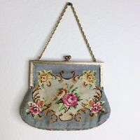 Vintage Tapestry Purse Handbag Floral Needlepoint Kiss Lock Gold Chain Small