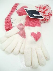 West Loop Girl's Pink Heart Beanie Hat and Gloves Kids Gift Set