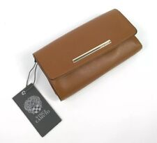 Vince Camuto Ike Wallet Brown Pebbled Leather Dark Rum Gold Trifold NWT $108 New