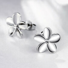 Women's White Gold Plated Crystal Lovely Small Flower Ear Stud Earrings Solid