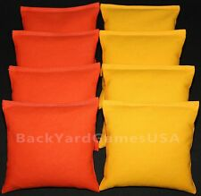 Cornhole Bean Bags Orange & Yellow 8 All Weather Resin Filled