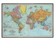 More details for stanfords poster gloss black framed general map of the world colour 91.5x61cm