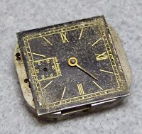 Vintage gents watch movement for repair, black dial, 15 jewels, sub dial, 22mm.