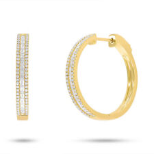 0.88 CT 14K Yellow Gold Channel Set Natural Baguette Cut Diamond Hoop Earrings