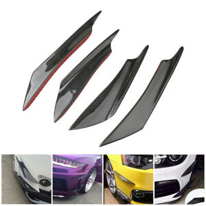 4x Car Carbon Fiber Bumper Fin Canard Splitter Diffuser Spoiler Lip Accessories