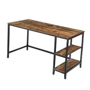 Computer Desk, 55.1 Inch Writing Desk with 55.1 Inches Rustic Brown + Black