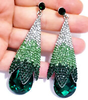Chandelier Earrings Rhinestone Ombre Green 3.1